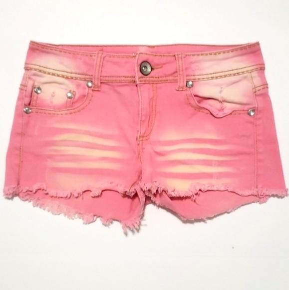 Dollhouse Pants - 《Dollhouse》Pink Wash Jean Shorts Sz 9 Coral Gems